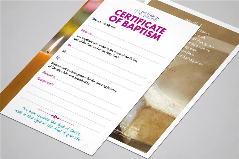 Church House Publishing - Official Baptism Certificate